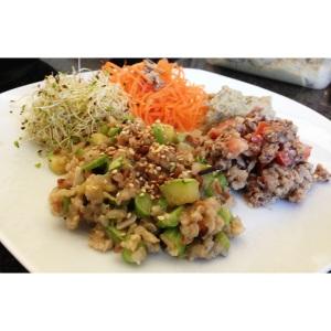 Risoto de legumes funcional, sardinha e saladas. Almoço rápido e gostoso!